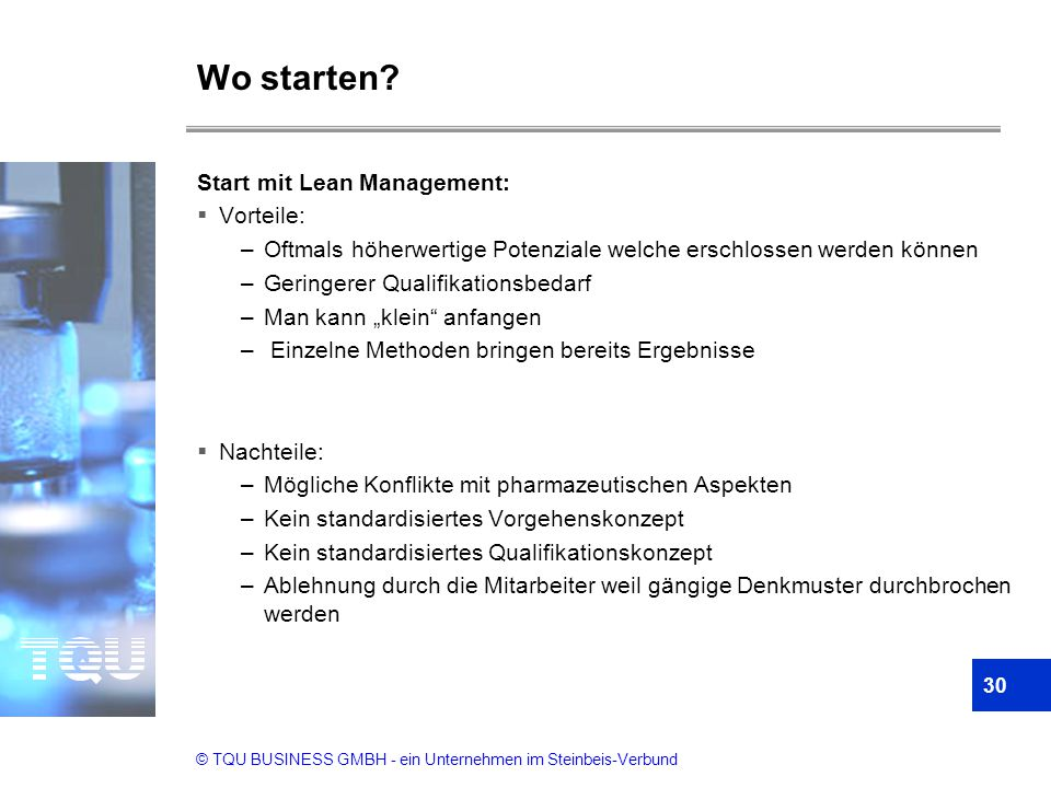 Wo starten Start mit Lean Management: Vorteile: