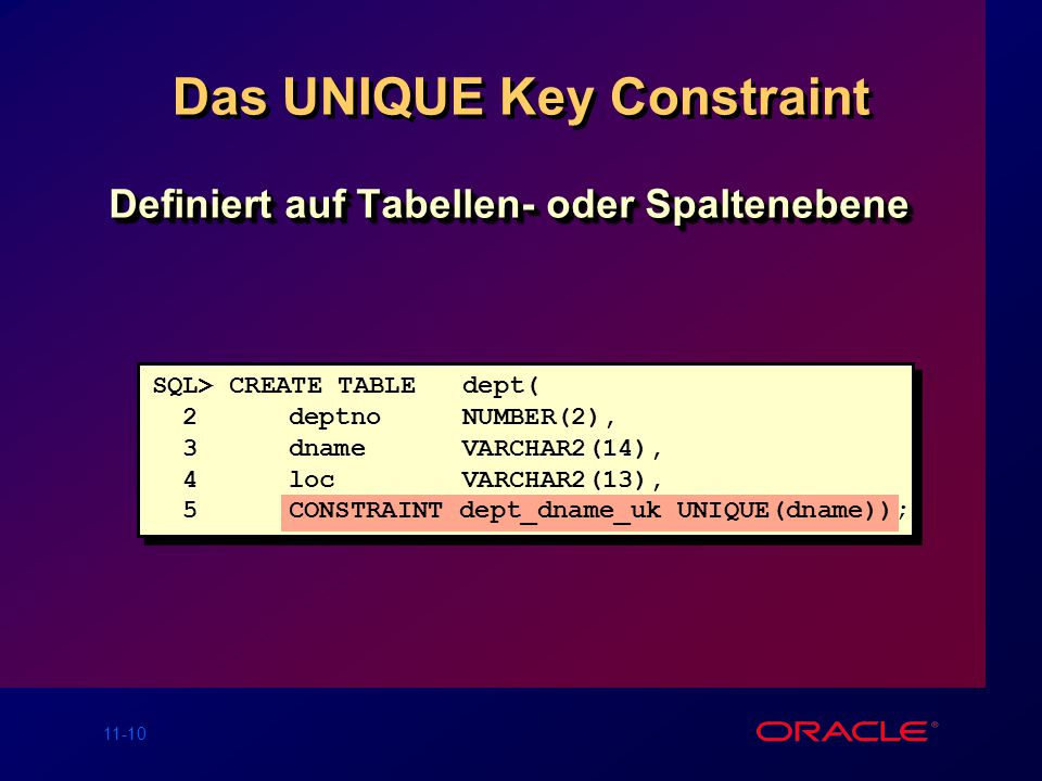 Das UNIQUE Key Constraint