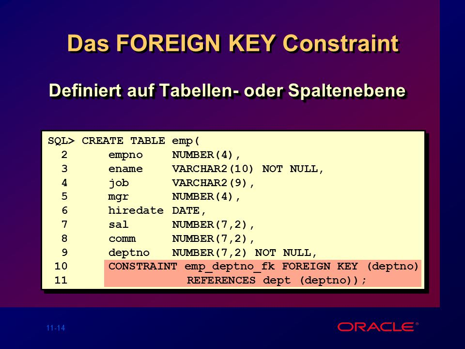 Das FOREIGN KEY Constraint