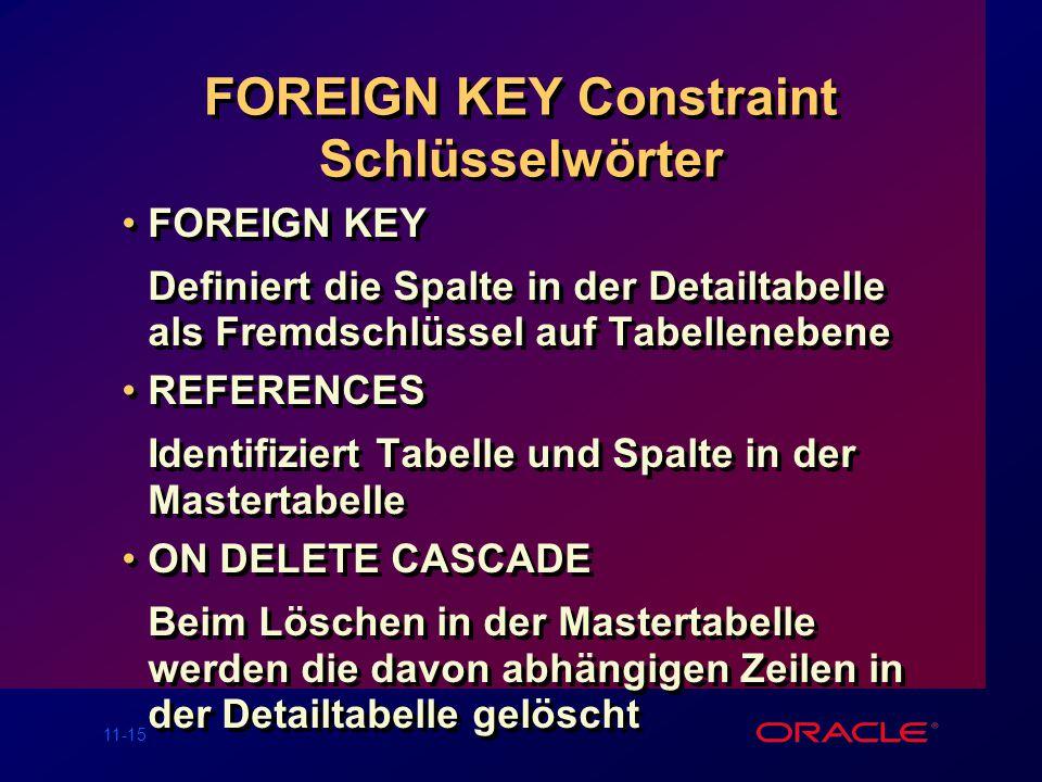 FOREIGN KEY Constraint Schlüsselwörter