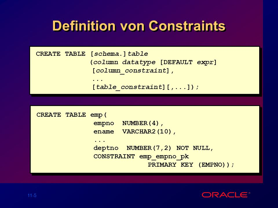 Definition von Constraints