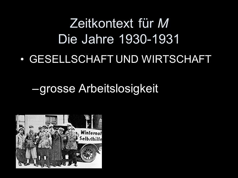 Zeitkontext für M Die Jahre 1930-1931
