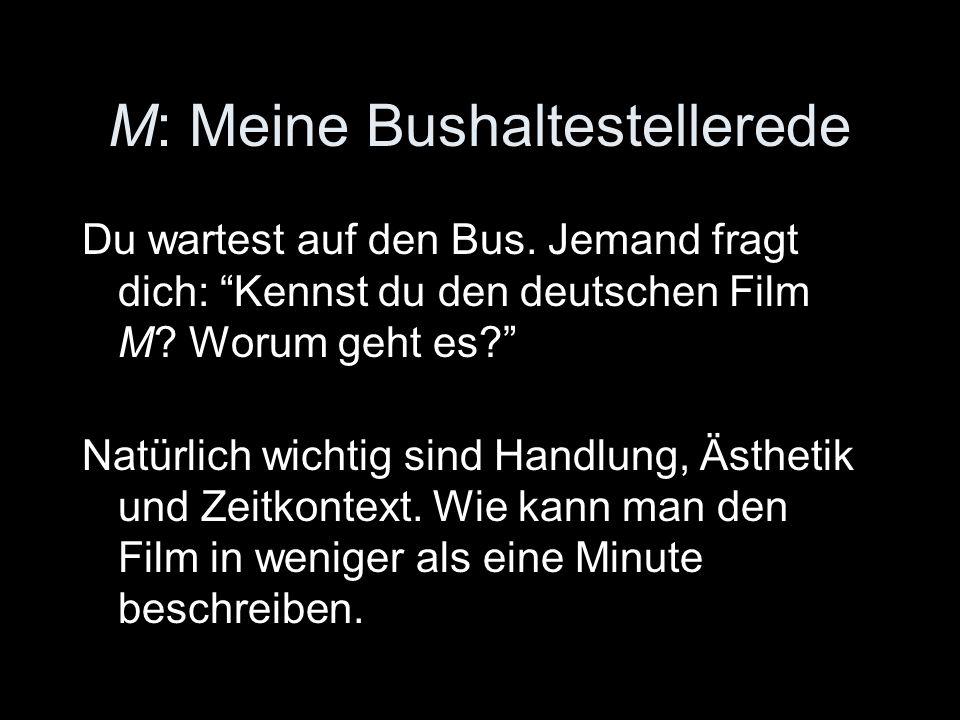 M: Meine Bushaltestellerede