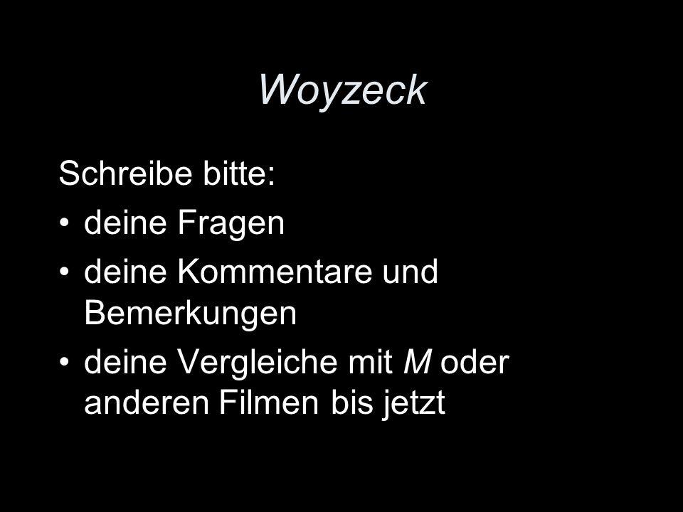 Woyzeck Schreibe bitte: deine Fragen deine Kommentare und Bemerkungen