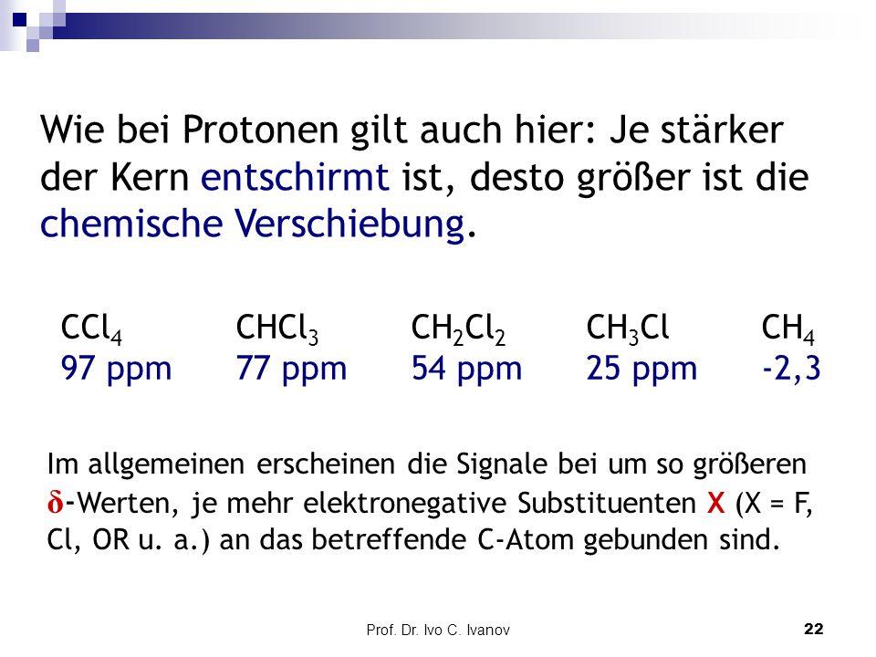 Wie bei Protonen gilt auch hier: Je stärker der Kern entschirmt ist, desto größer ist die chemische Verschiebung.