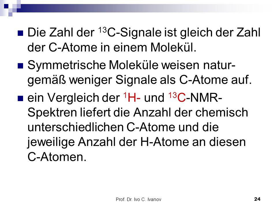 Die Zahl der 13C-Signale ist gleich der Zahl der C-Atome in einem Molekül.