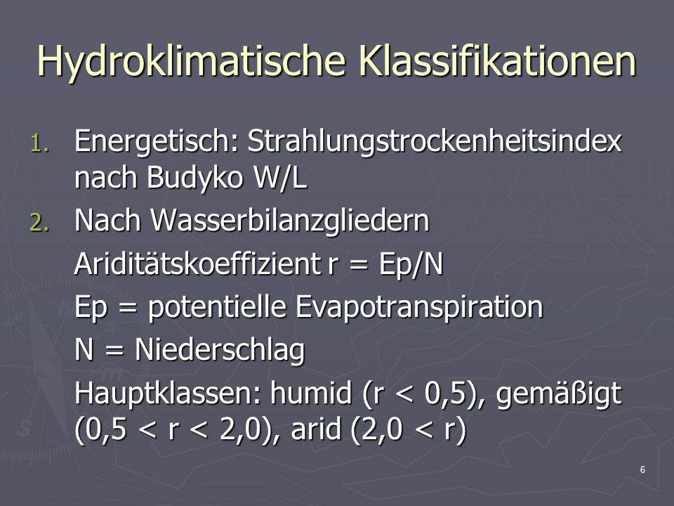 Hydroklimatische Klassifikationen
