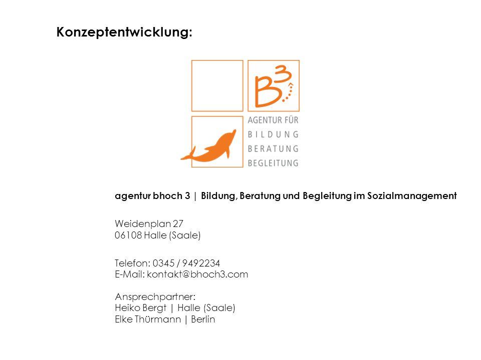 Konzeptentwicklung: agentur bhoch 3 | Bildung, Beratung und Begleitung im Sozialmanagement. Weidenplan 27 06108 Halle (Saale)