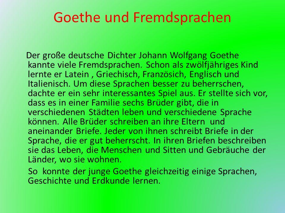 Goethe und Fremdsprachen