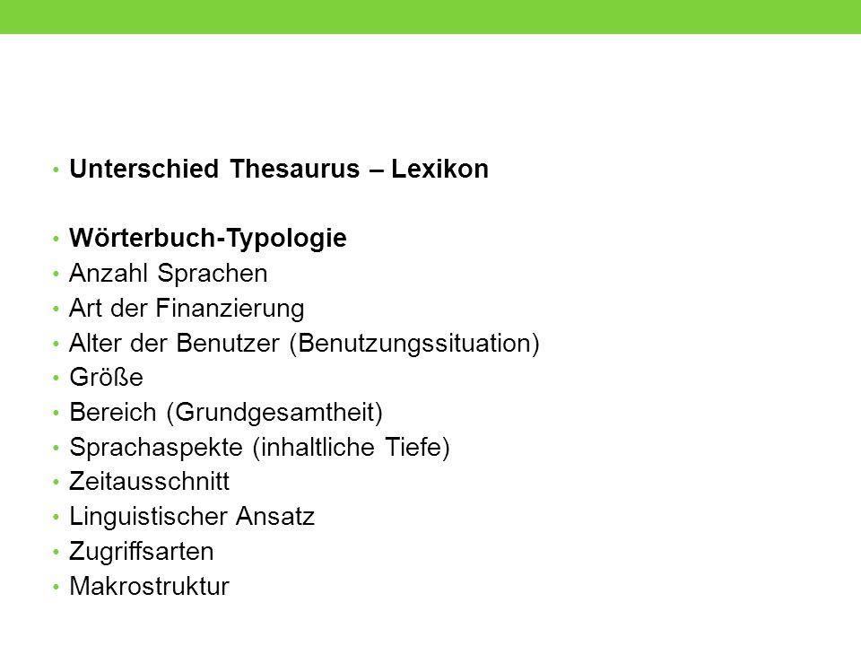 Unterschied Thesaurus – Lexikon