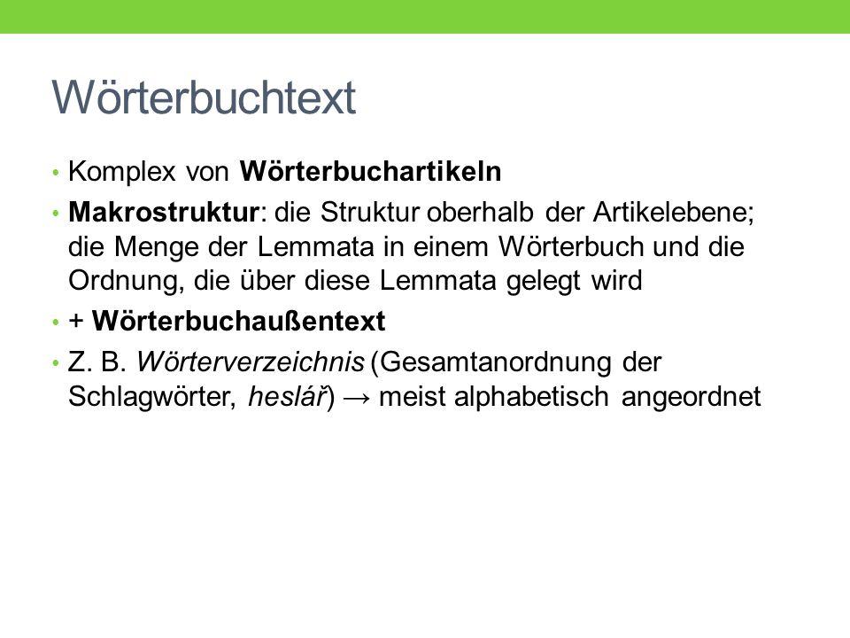 Wörterbuchtext Komplex von Wörterbuchartikeln