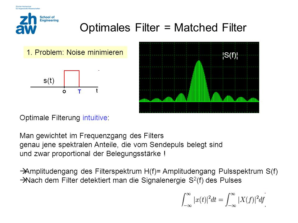 Optimales Filter = Matched Filter