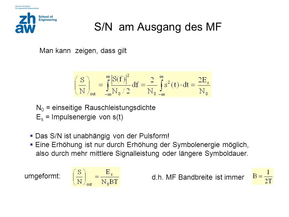 S/N am Ausgang des MF Man kann zeigen, dass gilt