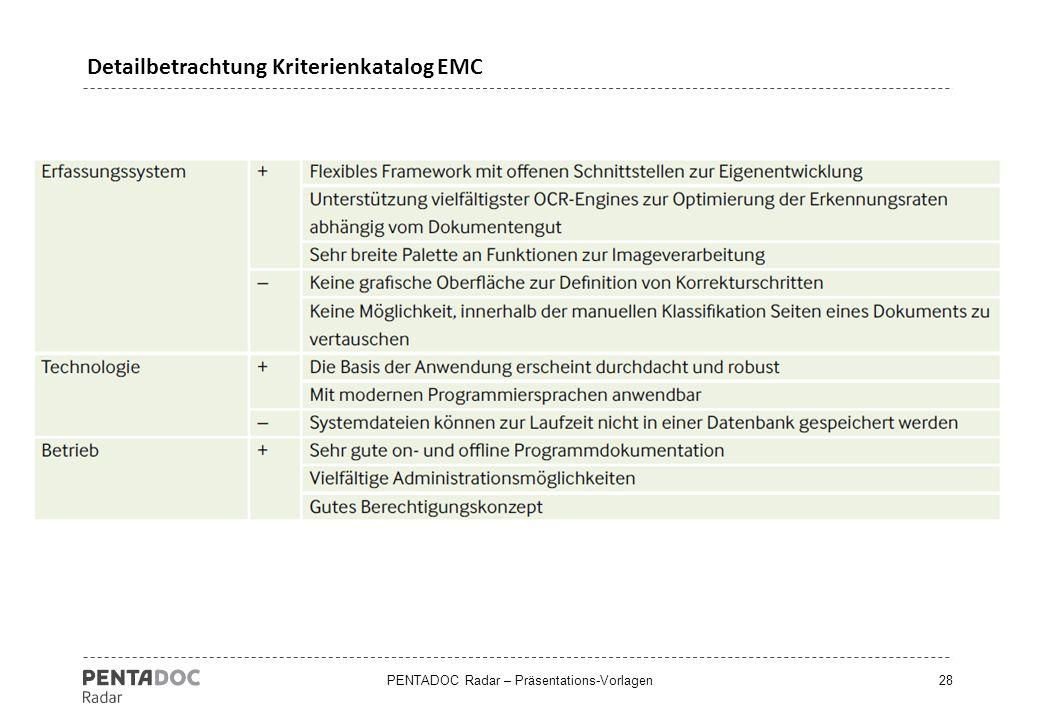 Detailbetrachtung Kriterienkatalog EMC