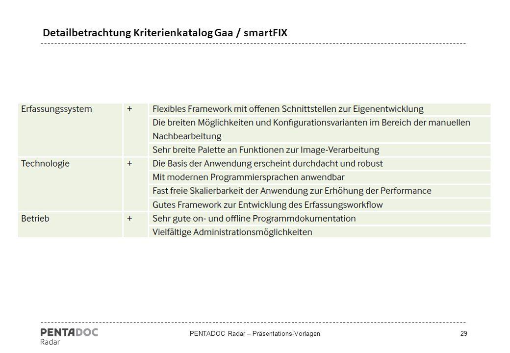 Detailbetrachtung Kriterienkatalog Gaa / smartFIX