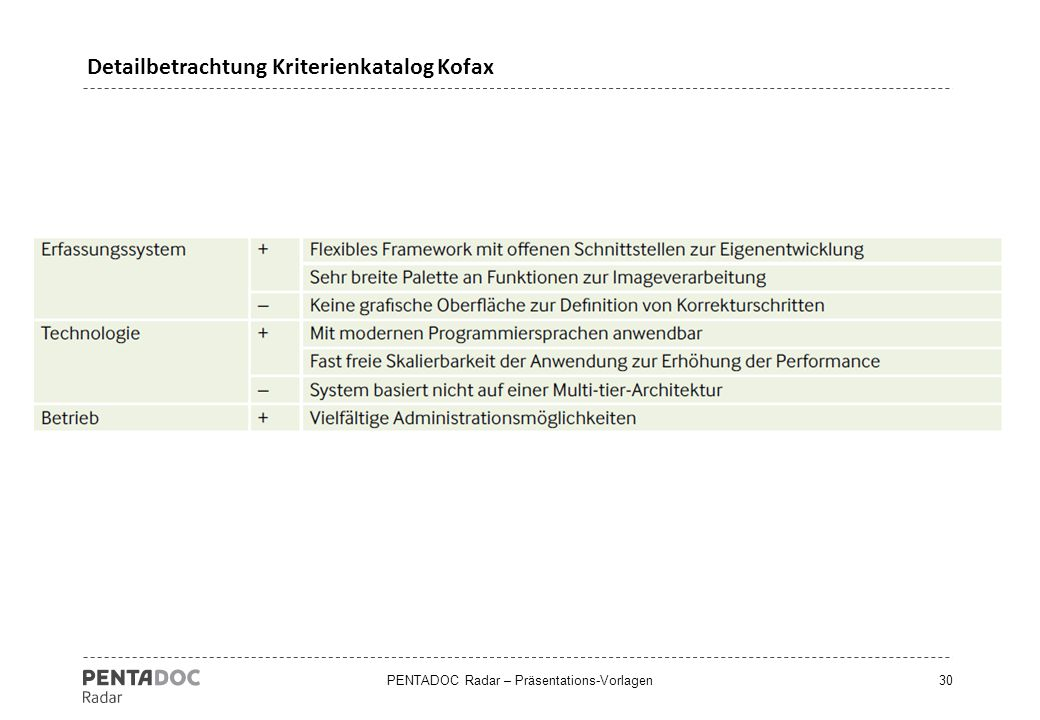Detailbetrachtung Kriterienkatalog Kofax