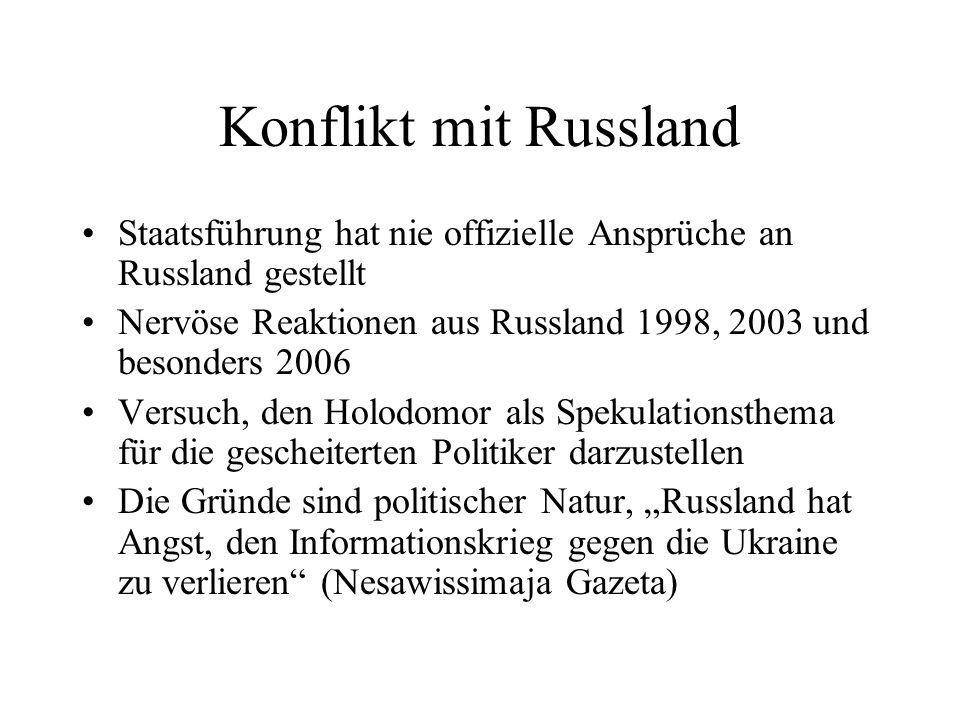 Konflikt mit Russland Staatsführung hat nie offizielle Ansprüche an Russland gestellt. Nervöse Reaktionen aus Russland 1998, 2003 und besonders 2006.