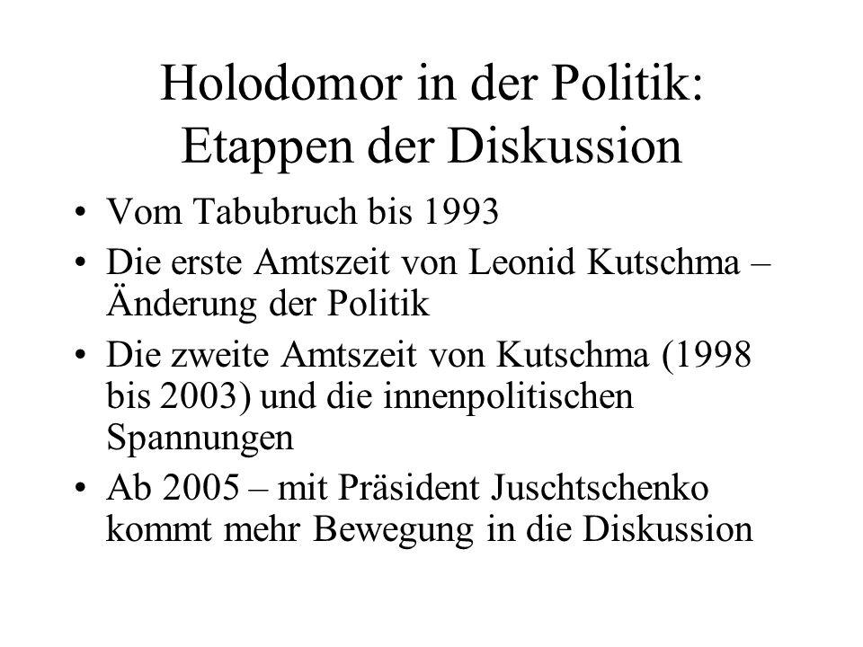 Holodomor in der Politik: Etappen der Diskussion