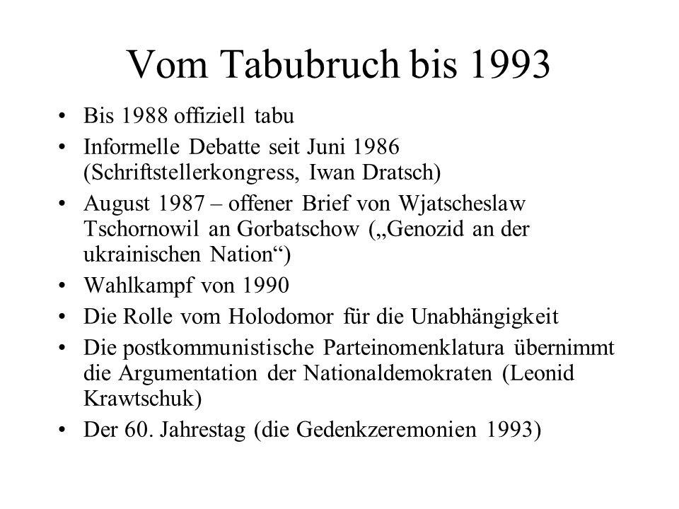Vom Tabubruch bis 1993 Bis 1988 offiziell tabu