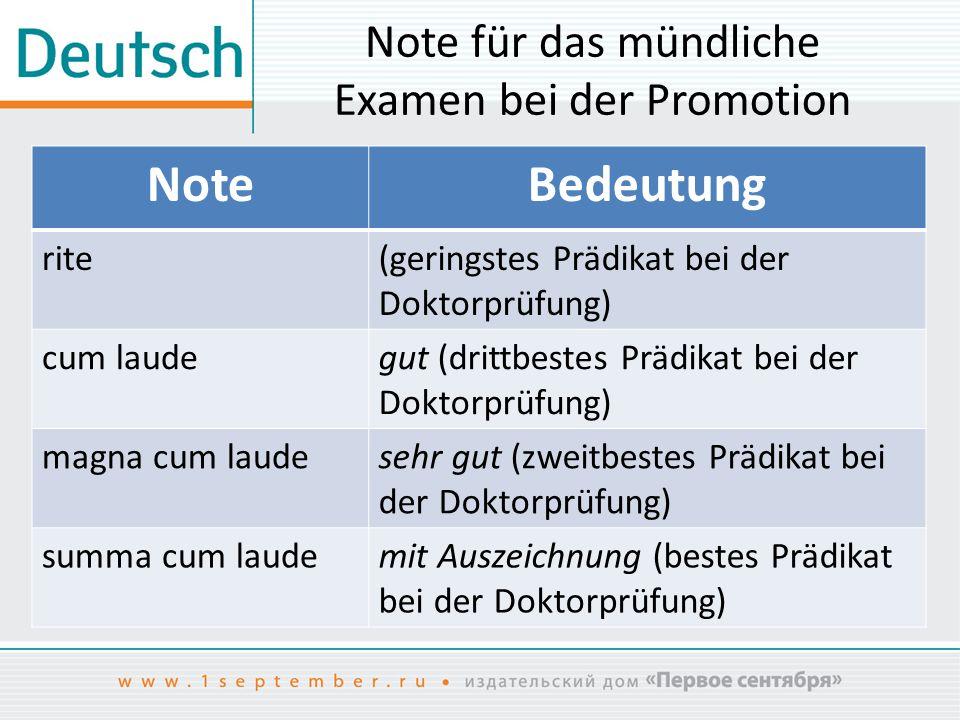 Note für das mündliche Examen bei der Promotion