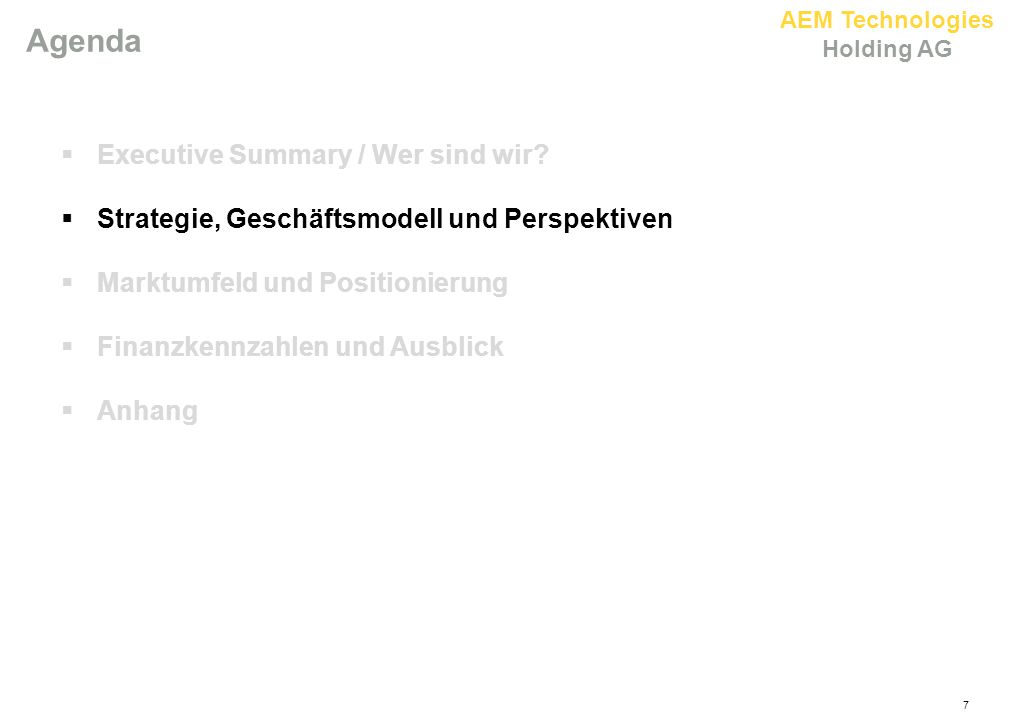 Agenda Executive Summary / Wer sind wir