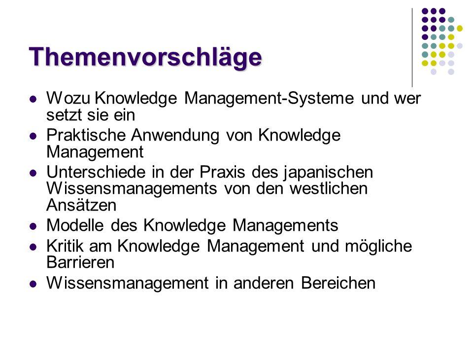 Themenvorschläge Wozu Knowledge Management-Systeme und wer setzt sie ein. Praktische Anwendung von Knowledge Management.