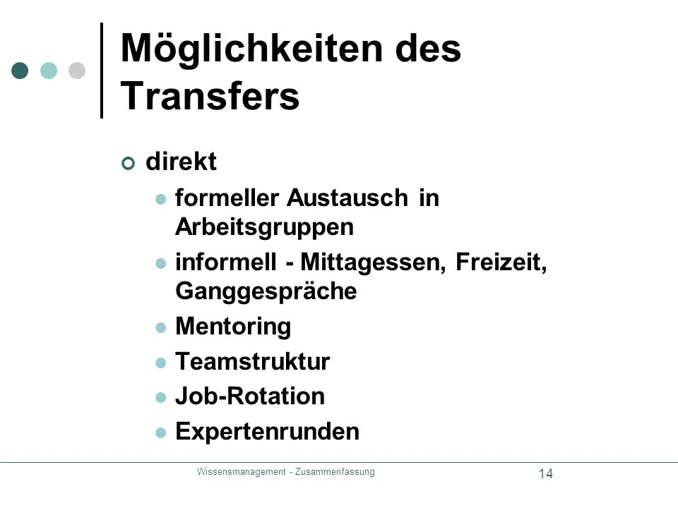 Möglichkeiten des Transfers