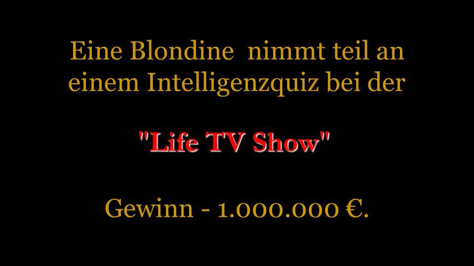 Eine Blondine nimmt teil an einem Intelligenzquiz bei der Gewinn - 1
