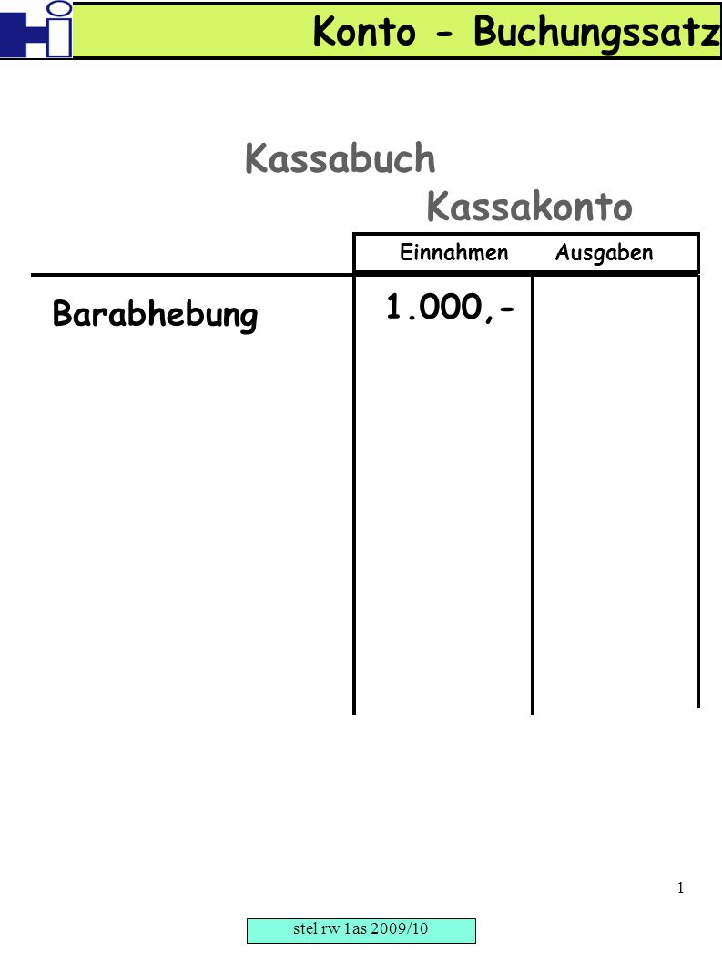 Konto - Buchungssatz Kassabuch Kassakonto 1.000,- Barabhebung