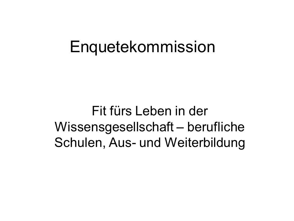 Enquetekommission Fit fürs Leben in der Wissensgesellschaft – berufliche Schulen, Aus- und Weiterbildung.