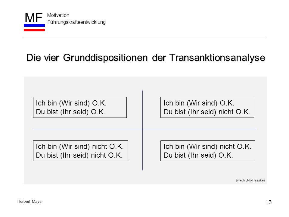 Die vier Grunddispositionen der Transanktionsanalyse