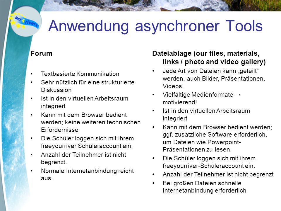 Anwendung asynchroner Tools