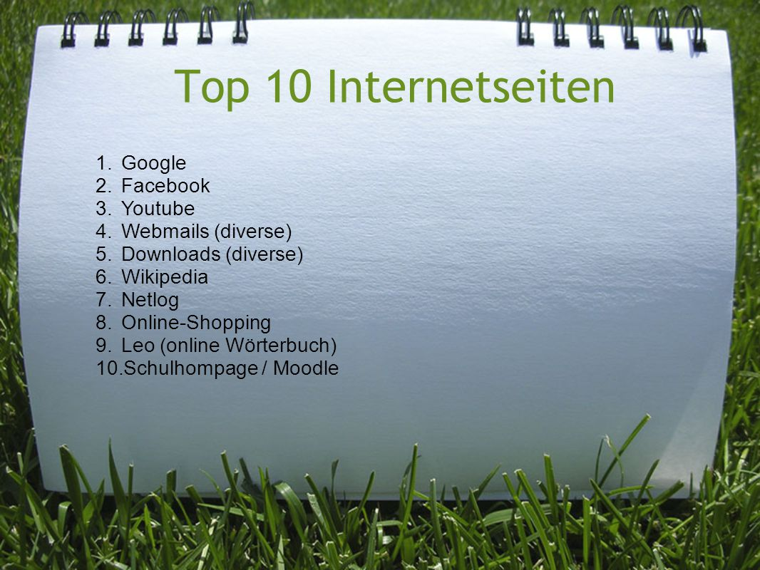 Top 10 Internetseiten Google Facebook Youtube Webmails (diverse)