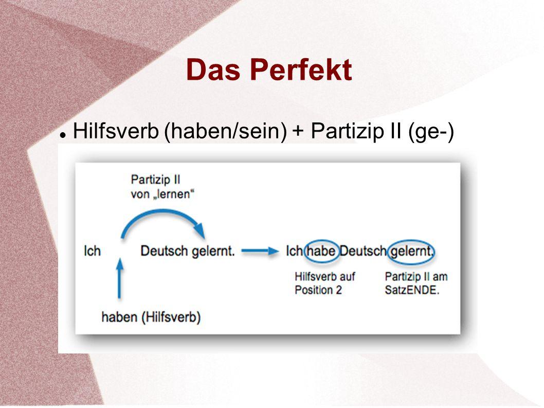 Hilfsverb (haben/sein) + Partizip II (ge-)