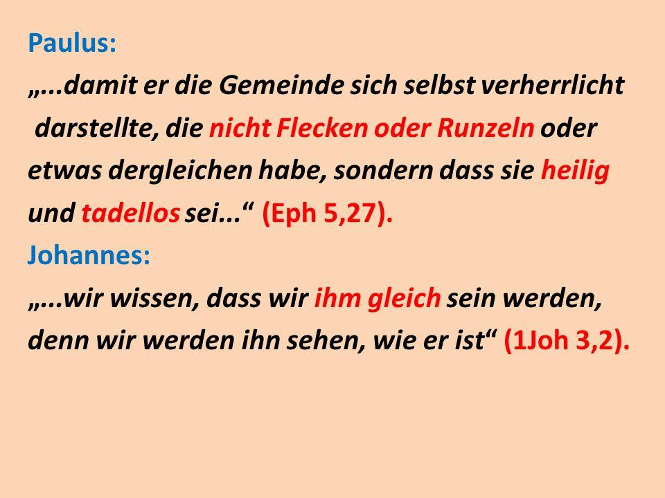 """Paulus: """"...damit er die Gemeinde sich selbst verherrlicht darstellte, die nicht Flecken oder Runzeln oder etwas dergleichen habe, sondern dass sie heilig und tadellos sei... (Eph 5,27)."""