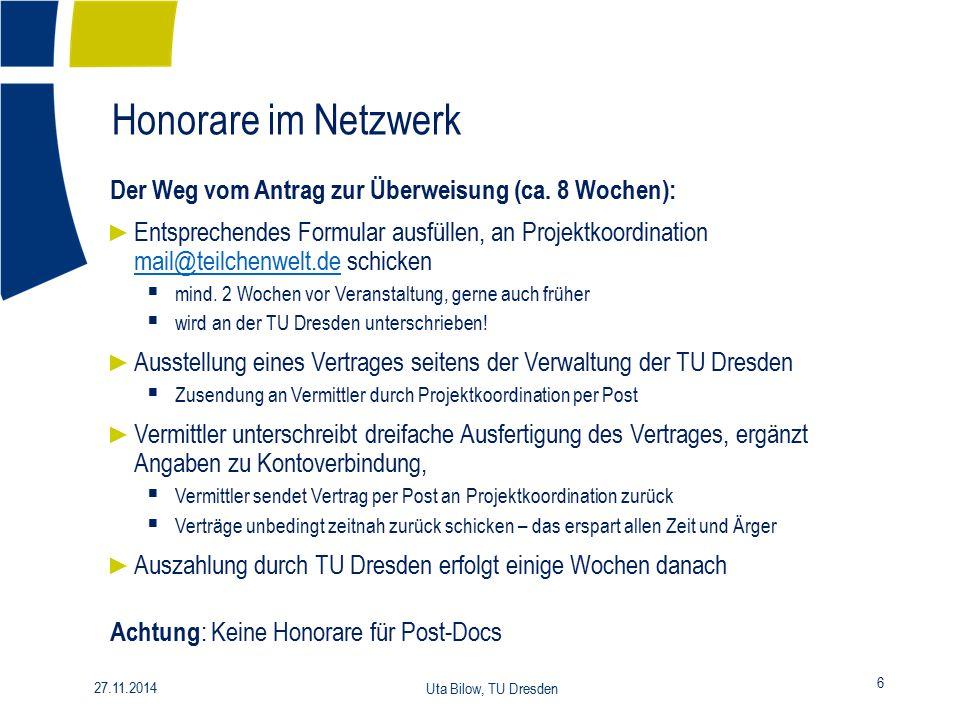 Honorare im Netzwerk Der Weg vom Antrag zur Überweisung (ca. 8 Wochen):