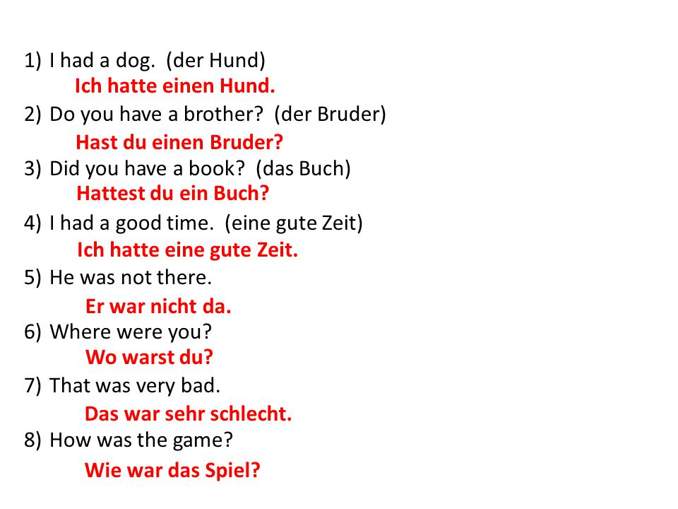 I had a dog. (der Hund) Do you have a brother (der Bruder) Did you have a book (das Buch) I had a good time. (eine gute Zeit)