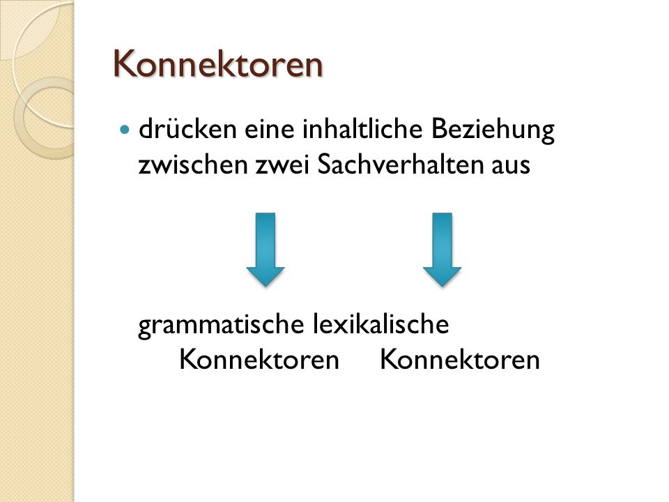 Konnektoren drücken eine inhaltliche Beziehung zwischen zwei Sachverhalten aus.