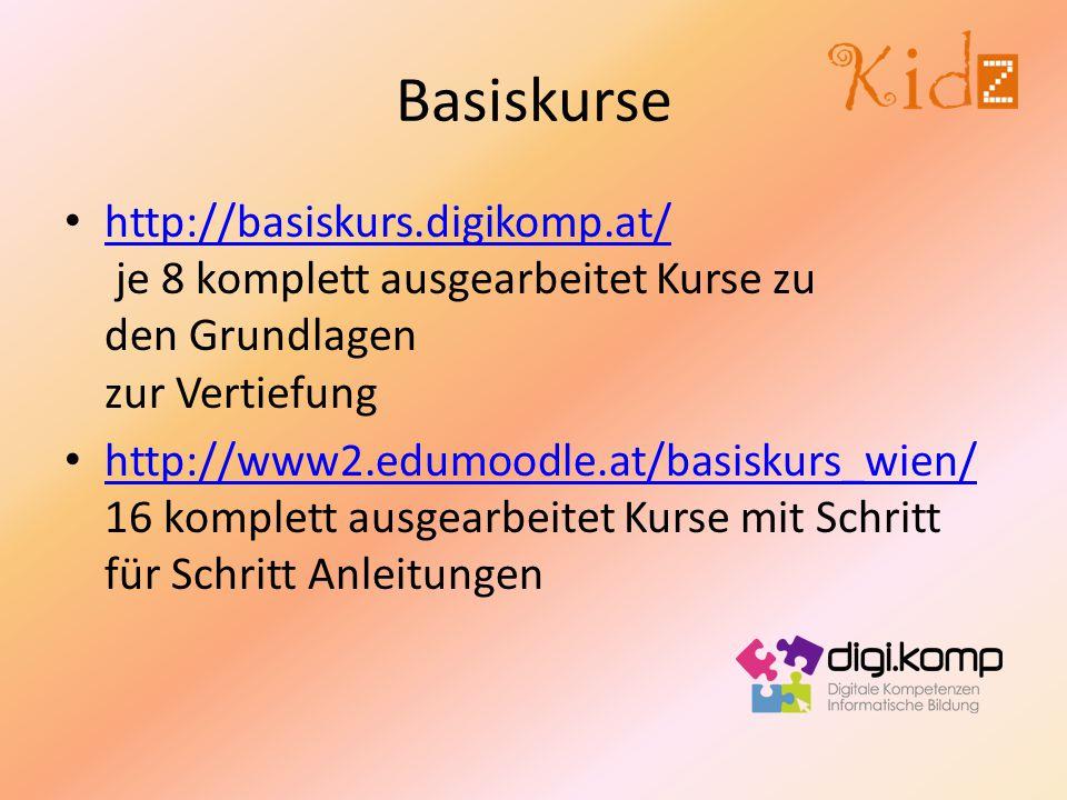 Basiskurse http://basiskurs.digikomp.at/ je 8 komplett ausgearbeitet Kurse zu den Grundlagen zur Vertiefung.
