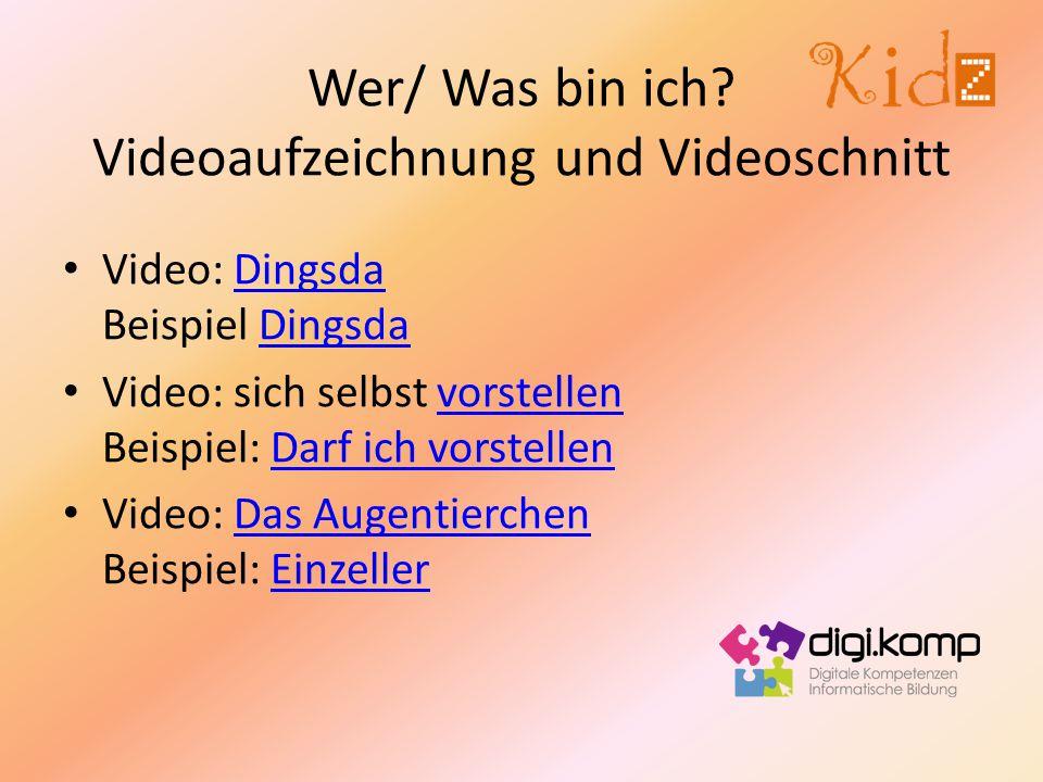 Wer/ Was bin ich Videoaufzeichnung und Videoschnitt