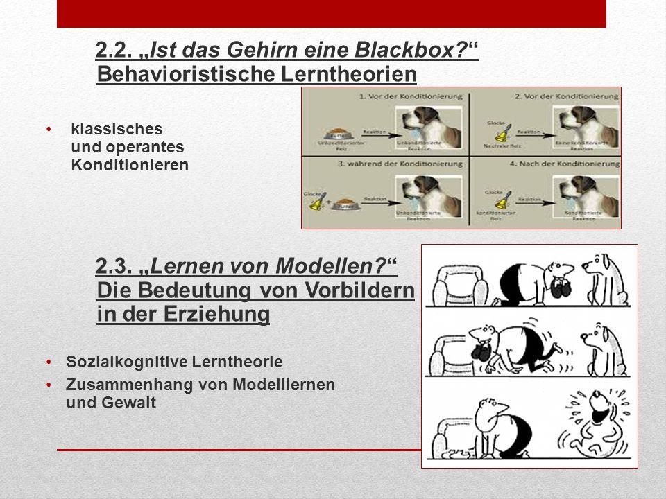"""2.2. """"Ist das Gehirn eine Blackbox Behavioristische Lerntheorien"""