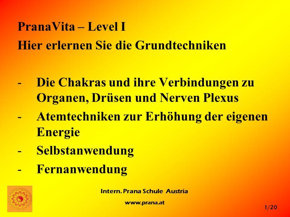 PranaVita – Level I Hier erlernen Sie die Grundtechniken. Die Chakras und ihre Verbindungen zu Organen, Drüsen und Nerven Plexus.