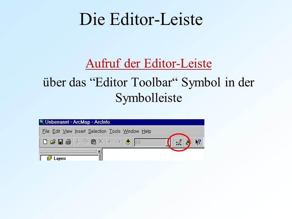 Die Editor-Leiste Aufruf der Editor-Leiste