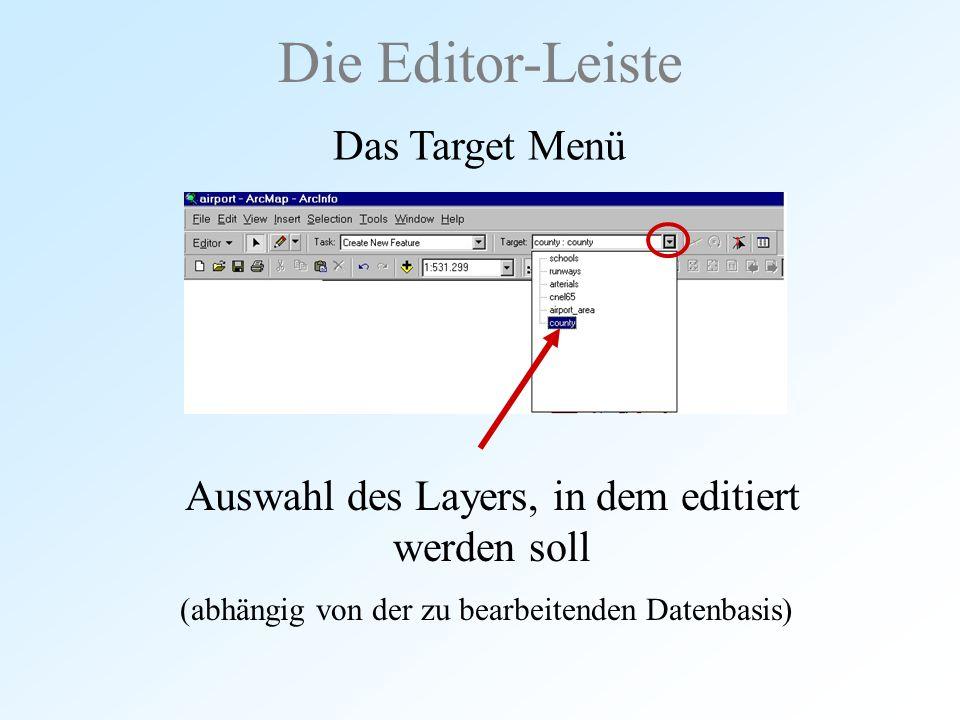 Auswahl des Layers, in dem editiert werden soll