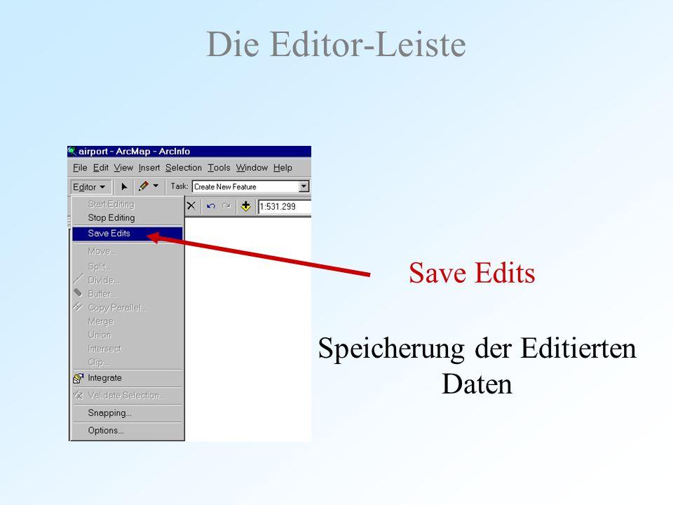 Speicherung der Editierten Daten