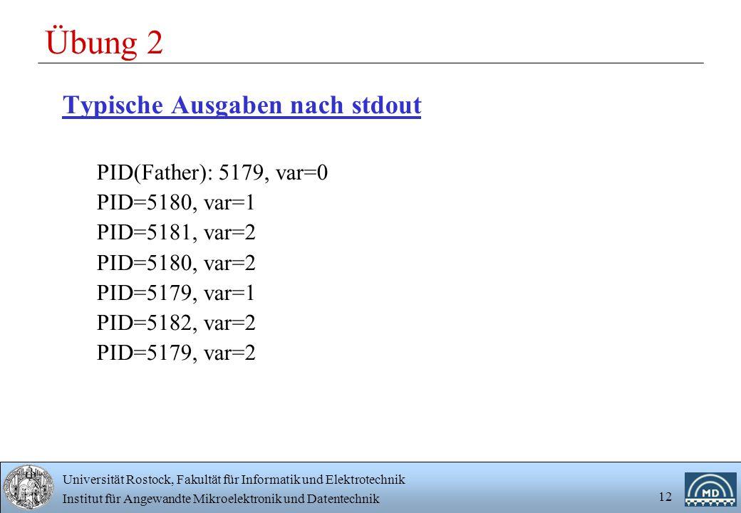Übung 2 Typische Ausgaben nach stdout PID(Father): 5179, var=0