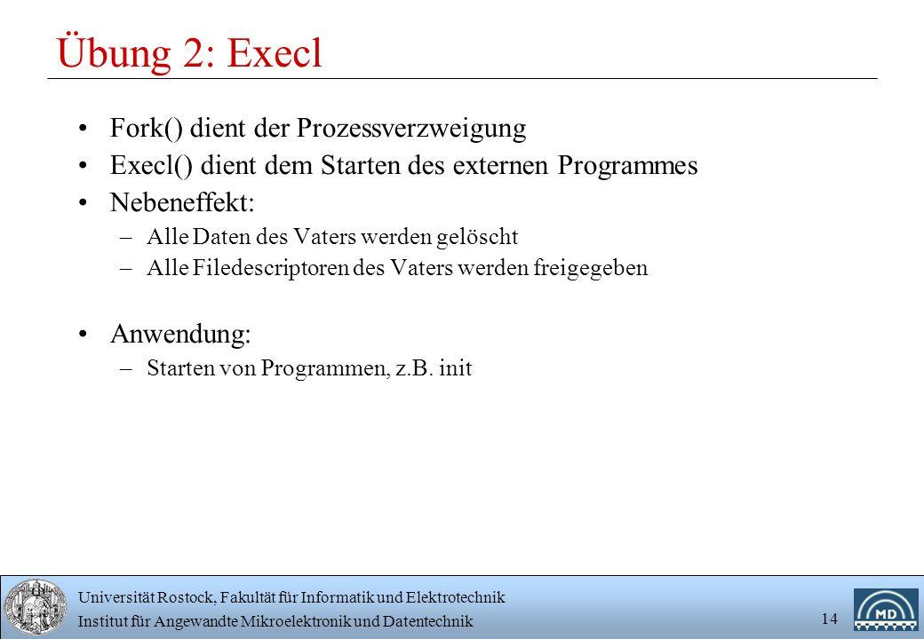 Übung 2: Execl Fork() dient der Prozessverzweigung