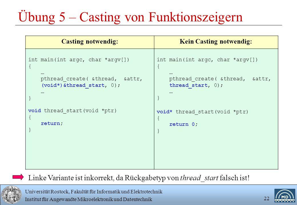 Übung 5 – Casting von Funktionszeigern