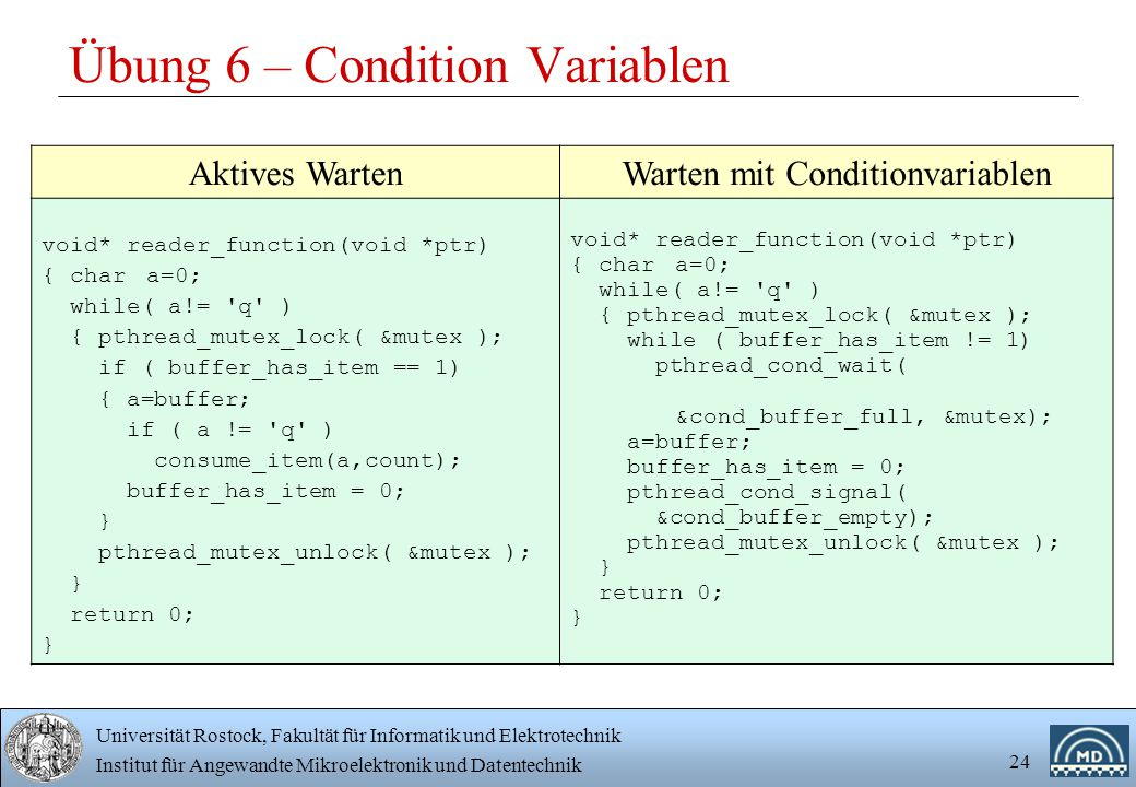 Übung 6 – Condition Variablen
