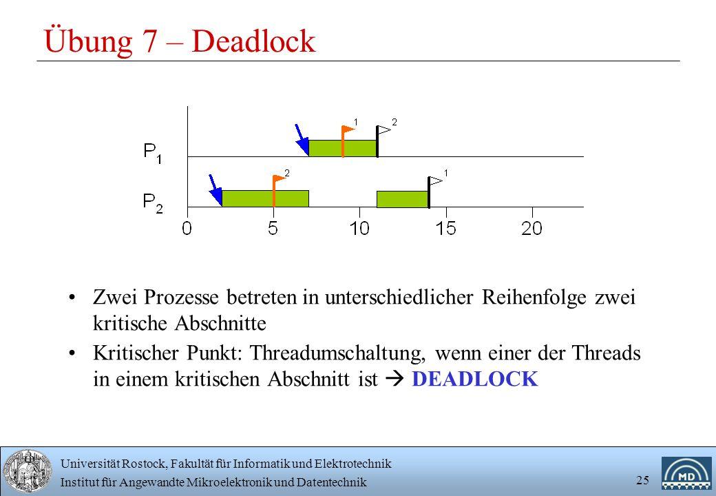 Übung 7 – Deadlock Zwei Prozesse betreten in unterschiedlicher Reihenfolge zwei kritische Abschnitte.